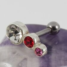 Helix Cartilage Bar 925 Sterling Silver Motif Siam Rose & Crystal 1.2 x 6mm New