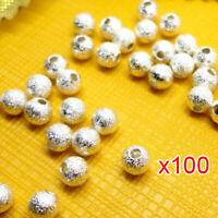 100 Stueck Matte Silber Perlen 14 mm D9A5 VG