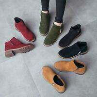 Fashion Women Suede Classic Zipper Snow Ankle Martin Boots Chunky Zip Up Shoes