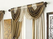 Chris Madden Hilton Candlelight Solid Ivory Tasseled Waterfall Valance Pair(s)