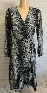 Black and Grey Animal Print Frill Hem Wrap Style Long Sleeve Dress Size 8 - 18
