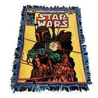 "Vintage Marvel Comics Star Wars Blanket Boba Fett , Mandalorian, Rare! 52"" X 39"""