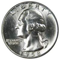 1958 D 25c Washington Silver Quarter US Coin Uncirculated Mint State