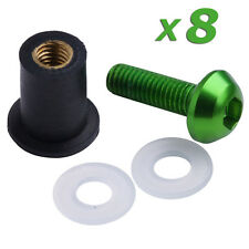 8X Universal Windscreen Screws Kits M5 5mm Bolts Rubber Well Nuts Washers Green