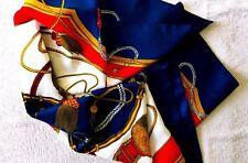 Foulard - 80x80 cm -  luxe - rouge - jaune - bleu marine - or