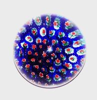 LOVELY MURANO ITALY ART GLASS MILLEFIORI RED WHITE & COBALT BLUE PAPERWEIGHT