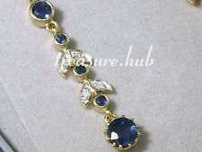CE240- SUPERB Genuine 9ct Gold NATURAL Sapphire & Diamond Journey Drop Earrings