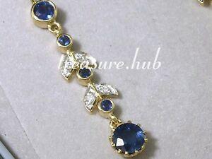 CE240- SUPERB Genuine 9ct Gold NATURAL Sapphire & Diamond Journey Drop Earrings