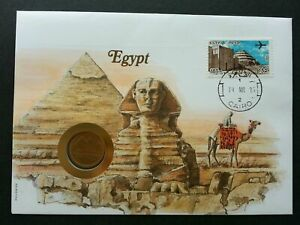 [SJ] Egypt Pyramid 1985 Building Heritage Airplane Landmark FDC (coin cover)