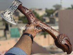 AXE Custom Handmade High Carbon Steel Viking Axe Eagle Engraved Rose Wood Handle