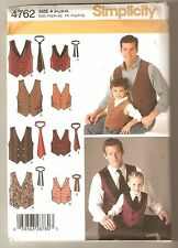 Simplicity Pattern 4762 Boys Mens Vests Ties Various  S M L and S M L XL  2004