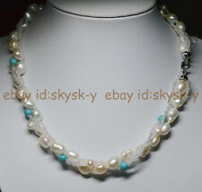 3Rows Exquisite RARE WHITE BAROQUE CULTURED PEARL Blue Turquoise Necklces