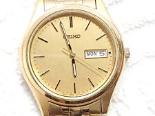 Vintage Seiko Day Date Gold Tone Quartz Watch Luminous Hands One Jewel Men's