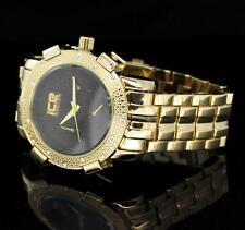 Mens 48mm Gold Plated iCE Master Hip Hop CZ Bezel Luxury Metal Bling Wrist Watch
