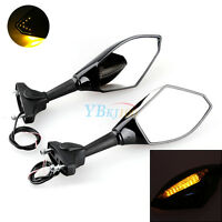 2Pcs Integrated Turn Signal Light Indicator LED Motorcycle Rear View Mirror UTRD