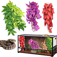 Reptile Terrarium Plants Hanging Silk Suction Cup Geckos Lizard Tank Decorations