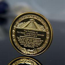 Gold Plated Aztec Mayan Calendar Commemorative Coin Souvenir Collection Gift HM