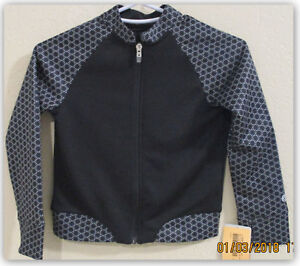 Champion C9 girls textured tech fleece full zip black/white print jacket XS 4-5
