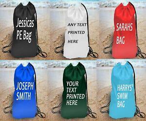 Personalised Named Water Resistant School Kids PE Kit Swim Bag Sports Rucksack