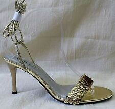Jolie Victoria Glamorous High Heel Pumps Gold w/Sequins Tie Up Size 8.5 M NEW!
