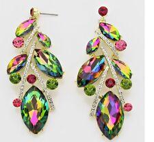 """3.5"""" Long Green Pink EmerAld Teardrop Vitrail Austrian Crystal Pageant Earrings"""