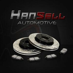 [Front Cross Drill Brake Rotors Metallic Pads] Fit 04 05 Honda Civic Sedan/Coupe