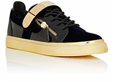 Giuseppe Zanotti London Navy Velvet Gold Plated Strap Double-Zip Low Sneakers 11