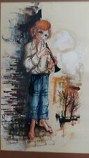 Large Signed Big Eyes Painting 1960s Boy/Girl Flute Player Margaret Keane Era
