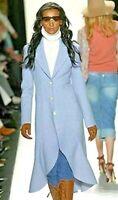 Michael Kors Collection Runway 2004 Wool Cashmere Blue Jacket Coat IT 44 / US 8