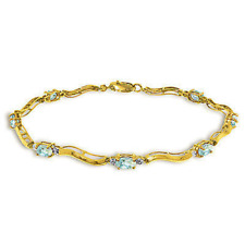 2.01 Ctw 14K Solid Gold Fine Bracelet with Authentic Natural Aquamarine Diamonds