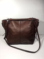 Isabella Fiore Brown Leather Stud Bride Handle Satchel Crossbody Hobo Large Bag