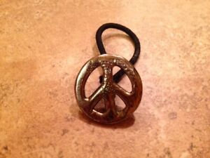 """Hair Tie with Concho for Braids, Ponytails, Pigtails - """"Peace, Man"""""""