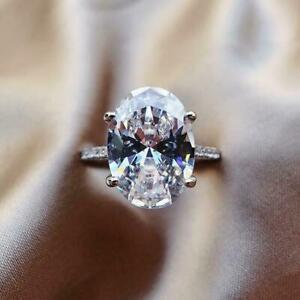 Oval Cut Cubic Zircon Women Jewelry Elegant 925 Silver Rings Party Size 8