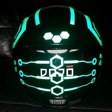 TRON STYLE HELMET STICKERS REFLECTIVE DECALS BE SEEN HI VIZ MOTORCYCLE HEXAGON G