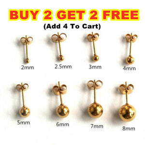 Unisex 9ct Solid Gold Pair Ball Round Ear Studs Earrings Piercing 2.5/3/4/5/6mm
