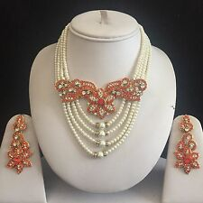ORANGE GOLD INDIAN COSTUME JEWELLERY NECKLACE EARRINGS PEARLS SET NEW BRIDAL