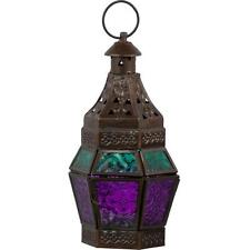 Turquoise and Purple Glass and Metal Lantern!