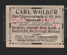 HASLACH, Werbung 1912, Carl Wolber Eier-Teigwaren-Fabrik