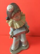 Lladro Nao Harlequins Concerto Clown w/Accordion Hand-Painted Spain