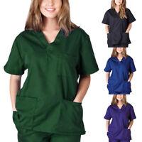 Women Scrub Top Hospital Dental Medical Uniform Hem Shirt Nurse Doctor Workwear