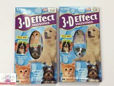 3-D Effect Flicker Moving Lenticular Valentine's Day Cards Box 64 Cat Dog Pets