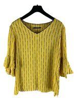 LAURèL by Escada Top Shirt limettengelb Damen Gr. DE 42 Oversize Gestreift X22
