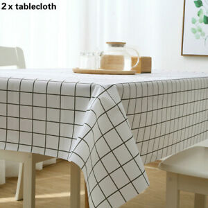2 X Waterproof Tablecloth Gingham Checkered Desk Cover Reusable Protector