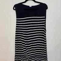 J.Crew Women's Drawstring Drop Waist Dress Size L Blue / White
