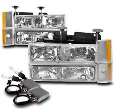 88-93 CHEVY/GMC C/K CRYSTAL HEADLIGHT LAMP CHROME W/BUMPER+CORNER+50W 8K HID KIT