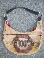 SASAKI Hobo Shoulder Bag Recycled Burlap Hawaiian Coffee Sack Tropical Eco Tan