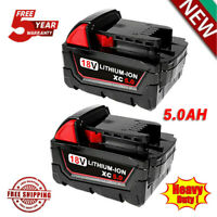 2X For Milwaukee M18 Lithium Ion XC 5.0 Extended Capacity Battery 48-11-1852 18V