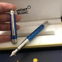Replica MB Blue Color P163 Little Prince and Fox M Nib Fountain Pen No Box