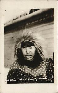 PC U.S. ALASKA, ESKIMO, ISLAND BEAUTY, Vintage REAL PHOTO Postcard (b29162)