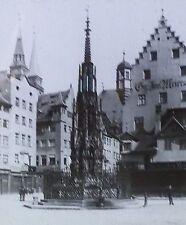 Schöner Brunnen Fountain/Square, Nuremberg, Germany, Magic Lantern Glass Slide